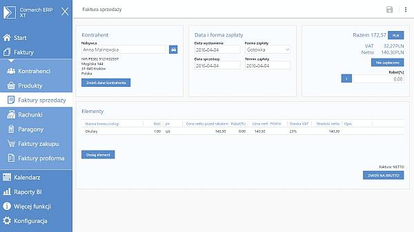 Comarch ERP XT Faktury - kod - dostęp roczny - ekran pierwszy